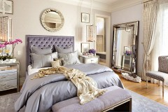 bedroom, lavender bedroom, round mirror, drapery