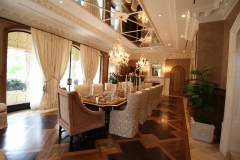 Dining Room, mirrored ceiling, parquet flooring