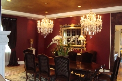 Venetian plaster walls, dining room, chandeliers