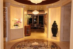Chandelier, mosaic floor, venetian palster walls,