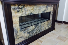Stone fireplace, two way fireplace