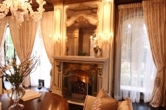 stone fireplace, log gas fireplace