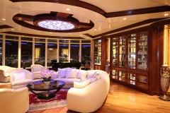 Living Room, venetian plaster ceiling, custom cabinetry, chandelier