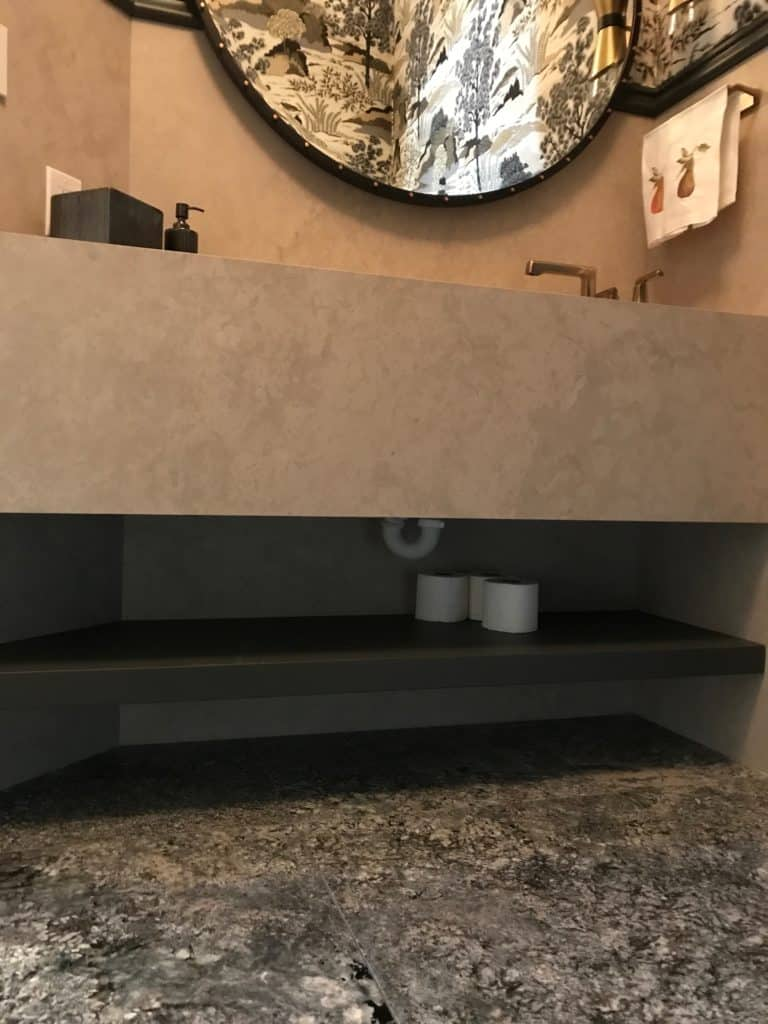 Lower storage for Powder Room remodel