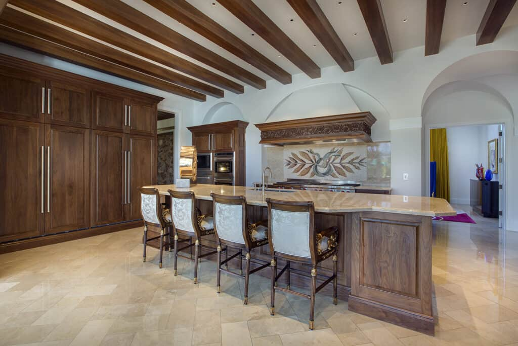 Kitchen with Beams at Ceiling